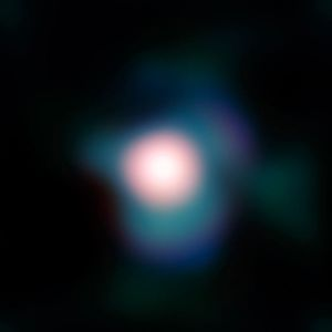 Not the north star. Betelgeuse (also known as Orion's shoulder). From wikimedia.