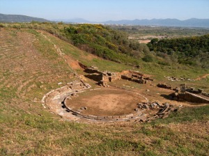 Ruins of an ancient theater in Stratos, Etolia Acarnania, Greece (from wikimedia)