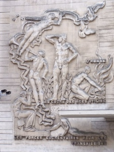 early forms of communication as sculpted at the entrance of Grande École Télécom ParisTech; wikimedia