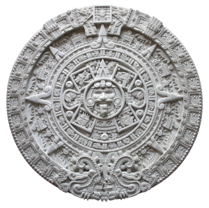 Aztec calendar, which apparently did not actually end in 2012, wikimedia