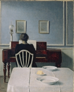 Vilhelm Hammershøi. Interior with Woman at Piano, Strandgade 30, 1901. Oil on canvas, 55.9 x 45.1 cm.