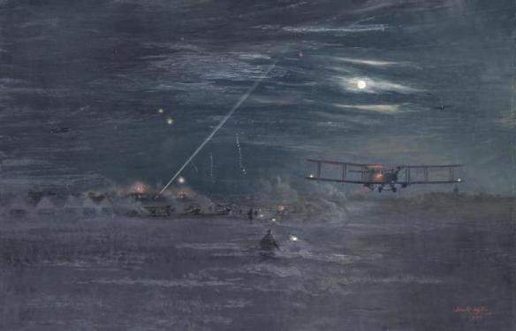 """Night Bombers Getting Off from the Trezennes Aerodome, 1917"" by Harold Wyllie (wikimedia)"
