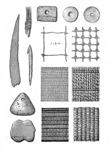 M0015197 Prehistoric fishing gear, nets, weaving etc. Credit: Wellcome Library, London. Wellcome Images images@wellcome.ac.uk http://wellcomeimages.org Prehistoric fishing gear, nets, weaving etc. Musee prehistorique Louis Laurent Gabriel de Mortillet Published: 1903 Copyrighted work available under Creative Commons Attribution only licence CC BY 4.0 http://creativecommons.org/licenses/by/4.0/